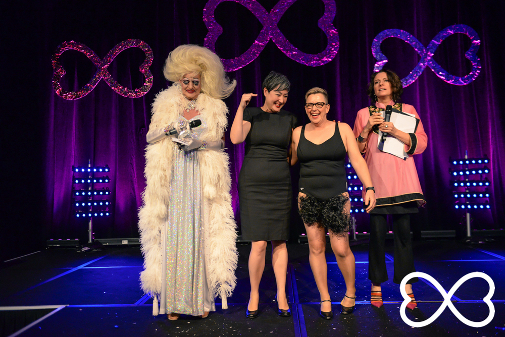Grand Final performers Jenny Leong and Shelly Silberman flanked by hosts Polly Petrie and Gretel KIlleen as the final vote is held to determine the champion of Lip-Sync Duels.  Photograph by Jeffrey Feng Photography for SGLMG.