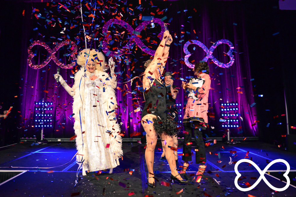 Shelly Silberman celebrates being crowned the 2015 Lip-Sync Duels Champion.  Photograph by Jeffrey Feng Photography for SGLMG.