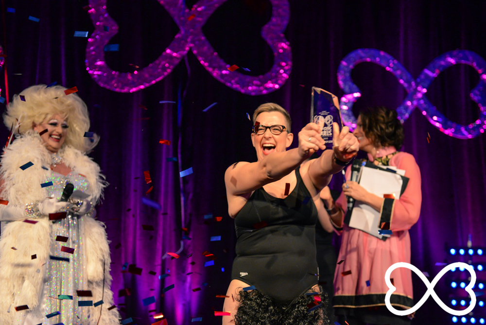 Smiles aplenty for 2015 Lip-Sync Duels Champion, Shelly Silberman.  Photograph by Jeffrey Feng Photography for SGLMG.