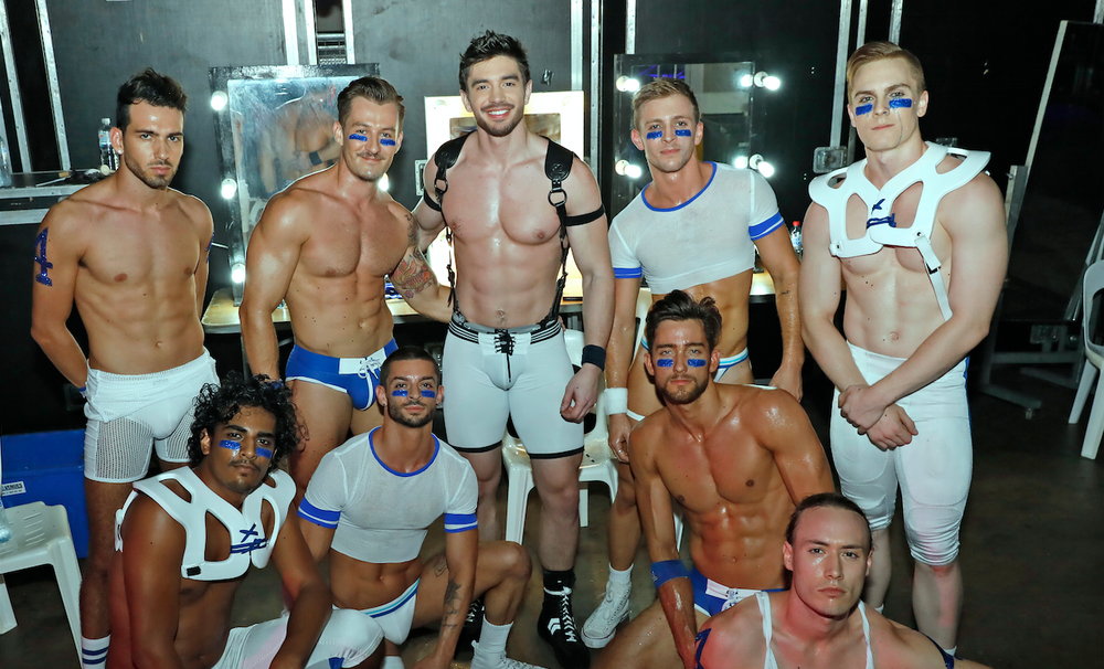 Steve Grand with his Mardi Gras Party show dancers backstage. Photo: Ann-Marie Calilhanna.