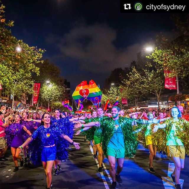 Thank you @cityofsydney for your beautiful float at #MardiGras40! #Repost @cityofsydney: This is our city at its glamorous best ✨  Thousands of people flocked to Oxford Street to watch and take part in @sydneymardigras Parade. This year marks 40 years since it all began.  80 City of Sydney staff marched in our float, themed 'Mardi Gras Forever.' We're so proud to be part of this wonderful celebration of Sydney's LGBTIQ communities. Pics: Katherine Griffiths  #mardigras40