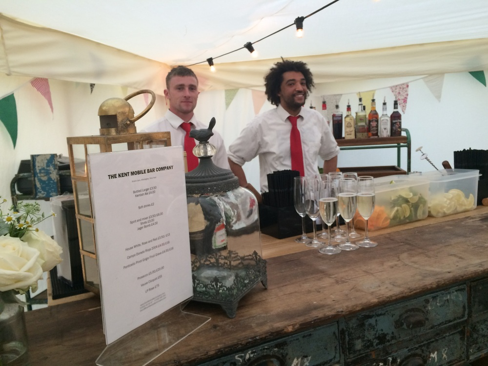 Wedding and event staff as standard with every mobile bar in Kent