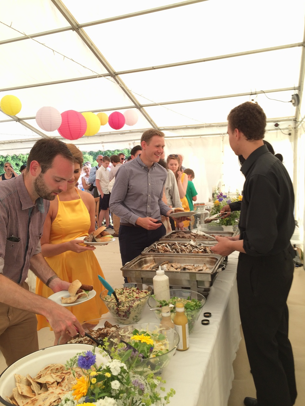Guests enjoying a wedding bbq in Kent last weekend