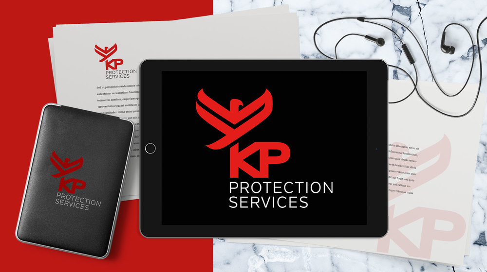 KP Protection<br>services<strong>logo design</strong>