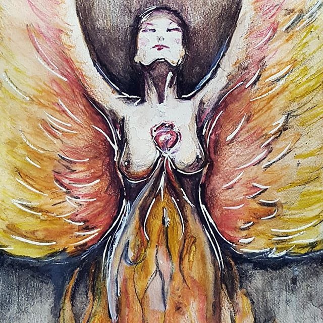 'And so she made the flames; her wings.' The first painting I've done for over a year. A self portrait of sorts; if you will. #betheflame  #watercolour #watercolourpainting #watercolours #survival #riseup #design #designer #art #unfinished #alwaysunfinished #australia #queensland #thisisqueensland