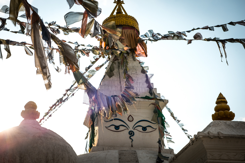 These stupas are plentiful in Nepal, which symbolize the all-seeing ability (wisdom) of the Buddha - Kathmandu, Nepal.