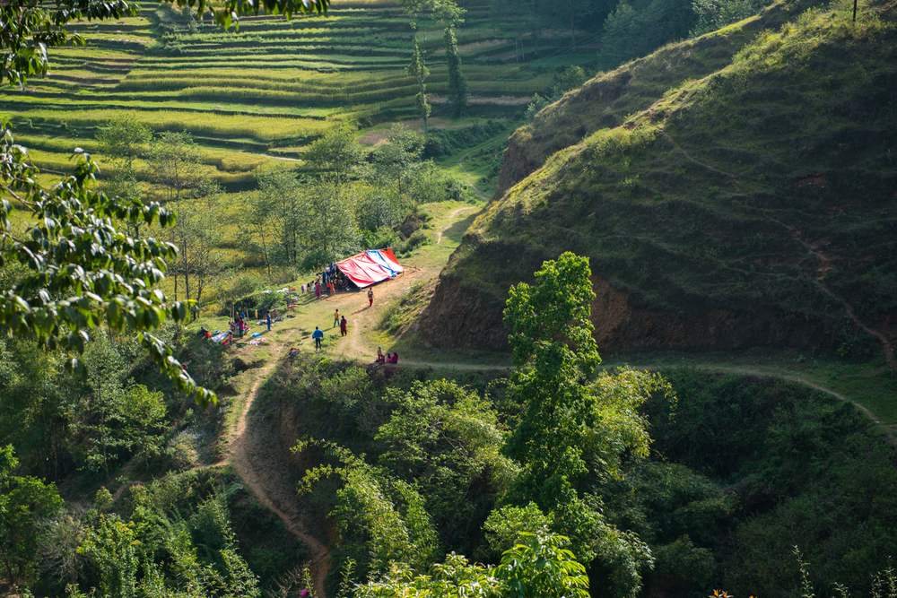 Lush agricultural fields glow as the sun sets - Goldhunga, Nepal.