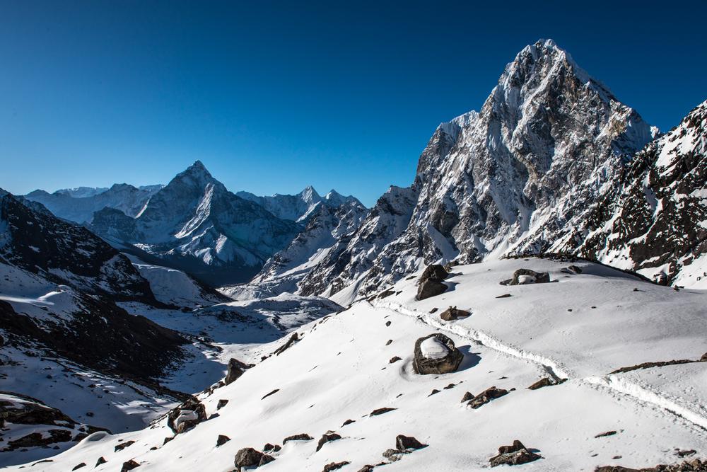 Breathing becomes tedious at 5,420 metres high - Cho La Pass, Nepal.