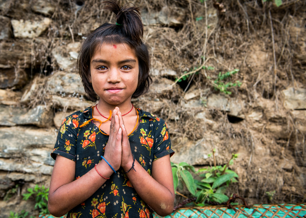 Namaste means 'I bow to the divine in you' - Khiping, Nepal.