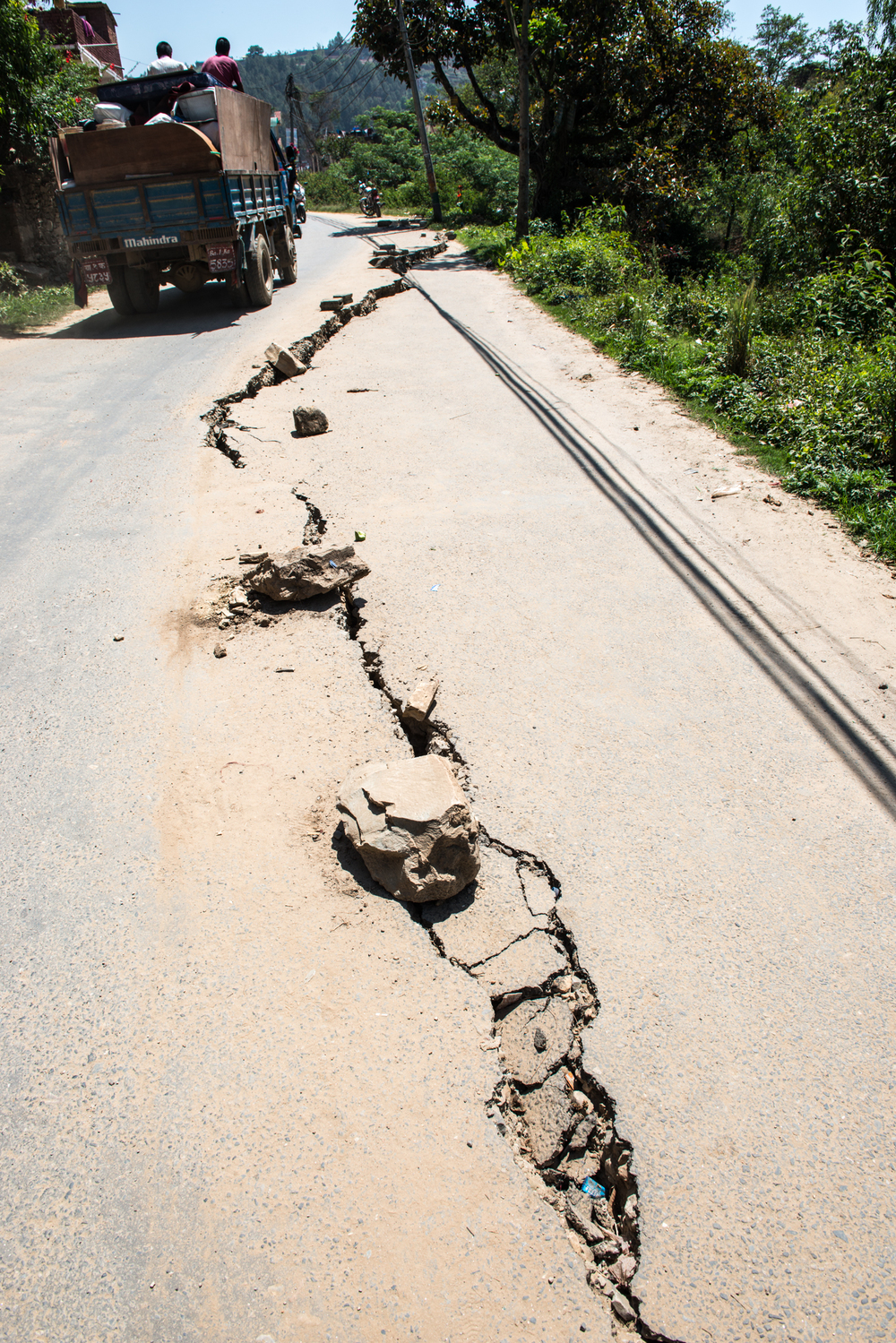 The road torn open.