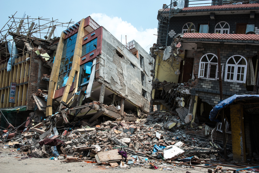 One of the industrial buildings in the middle of kathmandu completely destroyed.
