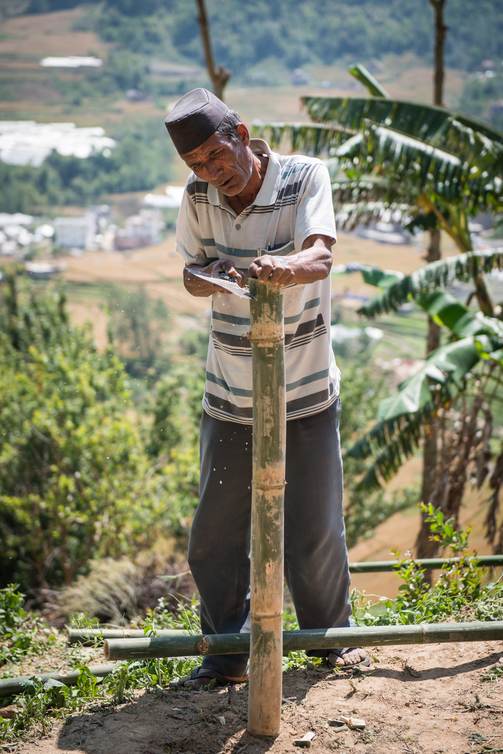 In Ramkot, we spent many days building bamboo shelters for families displaced by the earthquake. This nepalese elder taught us a thing or two about wiring and sawing bamboo.