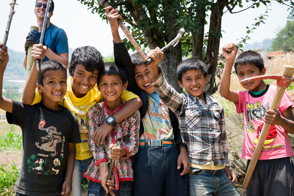 The children of Ramkot,expressed serious excitement for building new bamboo homes in replacement of their earthquake stricken houses. The tools were impossible to get back!