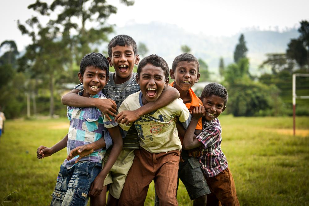 Boys from a small village react to having their photo taken - Adam's Peak, Sri Lanka.