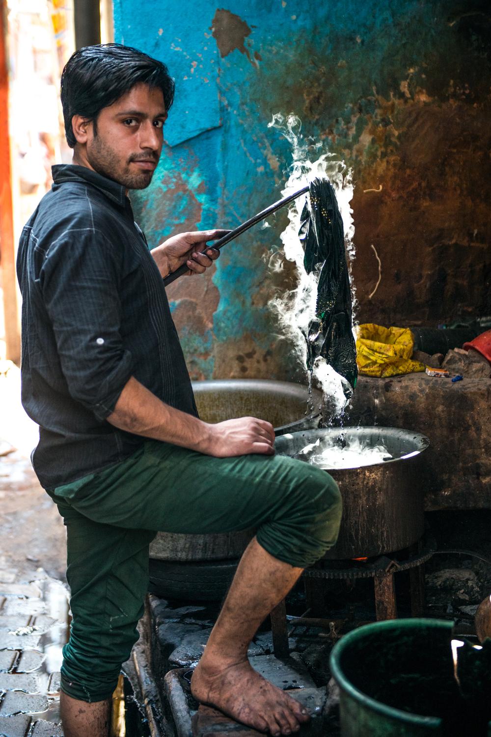A commercial garment dyer - Varanasi, India.