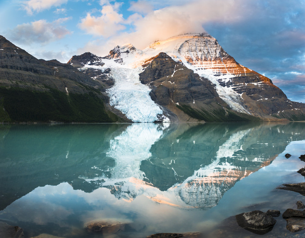 Jaw dropping reflection of the highest mountain in the Canadian Rockies - Mount Robson 3,954m.
