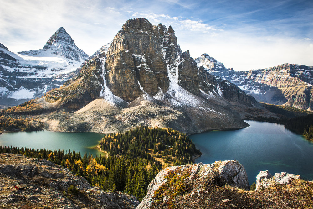 Spectacular views from Nub peak at Mt Assiniboine Provincial Park.