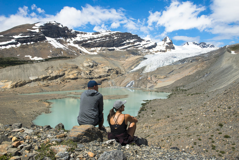 Trekkers admire Hargreaves Glacier in Mount Robson Provincial Park.