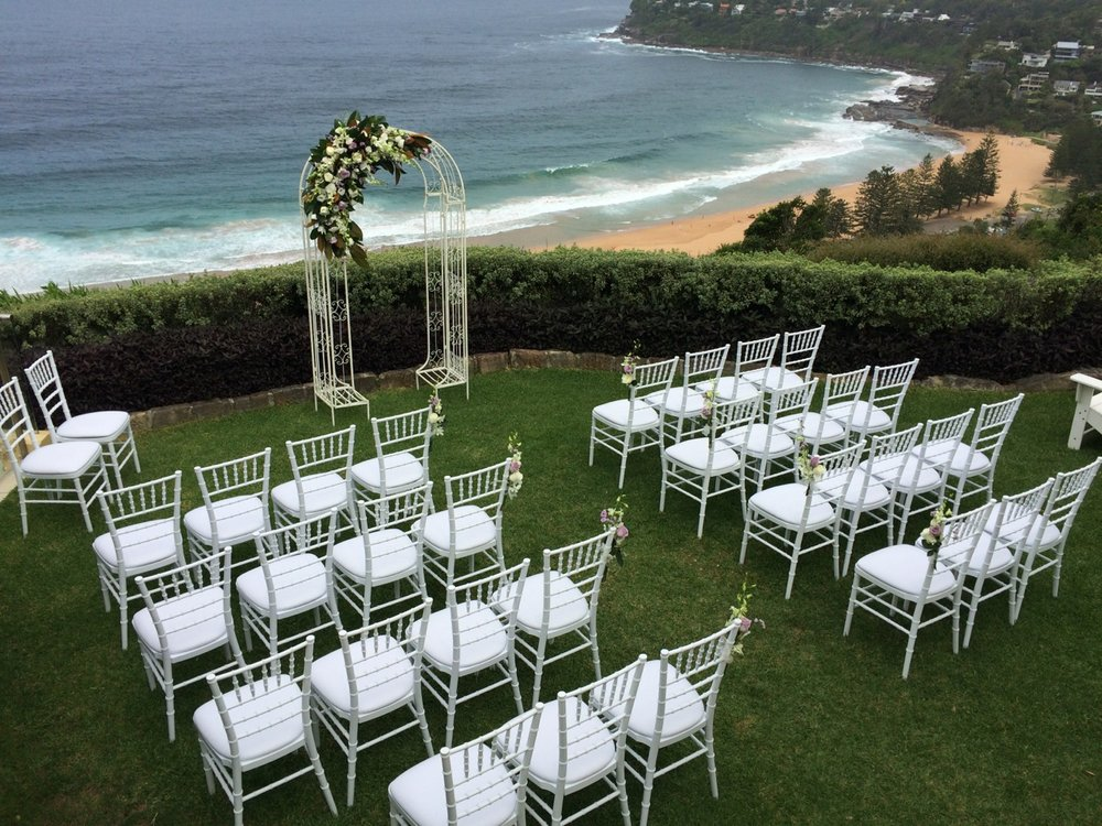 Wedding Ceremony Set-up by Cloud 9 on the lawn at Jonah's, Whale Beach
