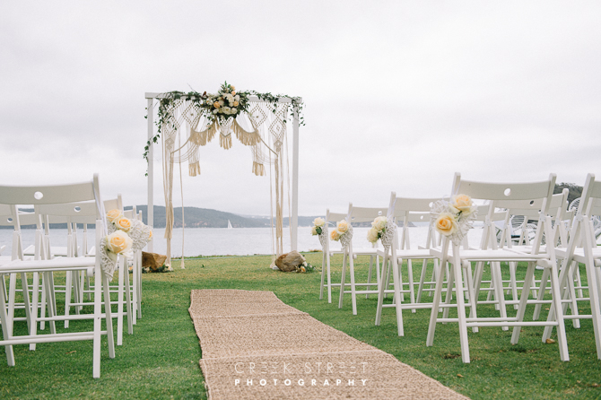 Wedding Ceremony Set-up on the 4th Tee by Cloud 9 Event Management Photo credit: Ronny, Creek Street Photography