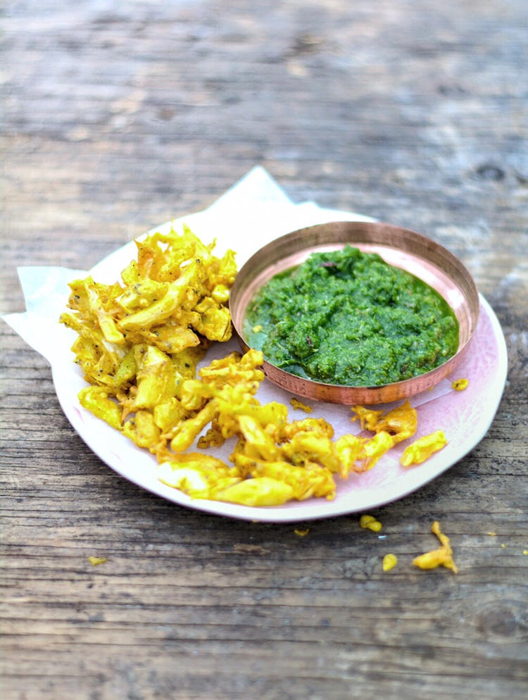 Fennel bhajis with a green chilli and coriander chutney