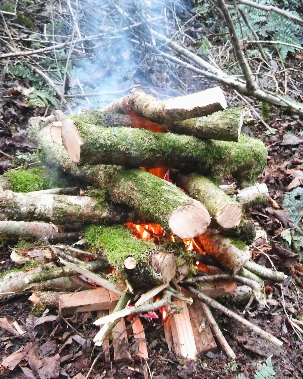 Step 3: Keep piling on logs in a criss-cross pattern so that the fire can travel up through the middle. Allows the wood dry out as well.