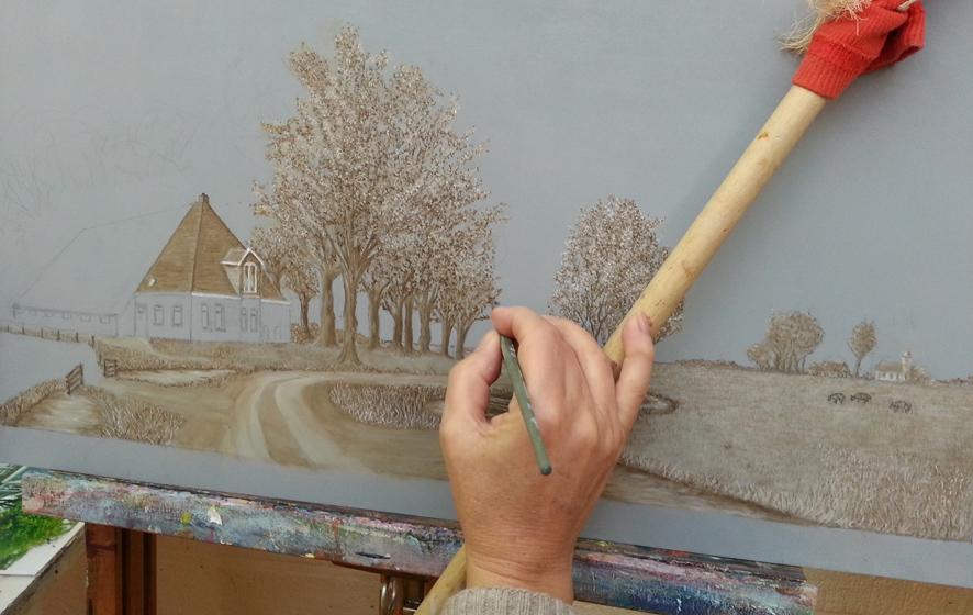 Onderschildering op grijs paneel