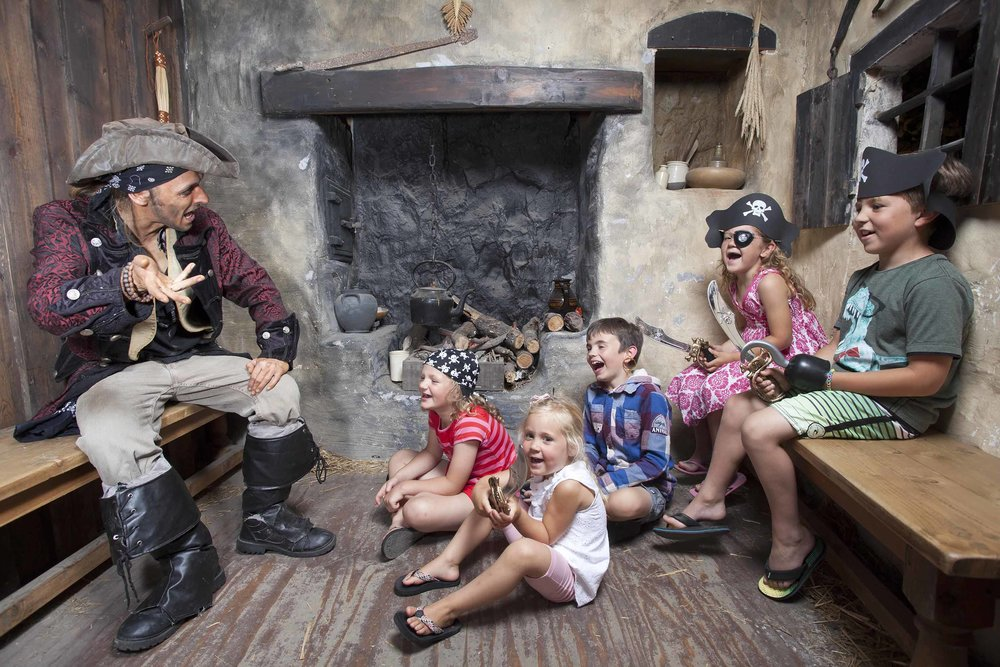 Children enjoy some swashbuckling storytelling at Pirates Quest Newquay, Cornwall.jpg