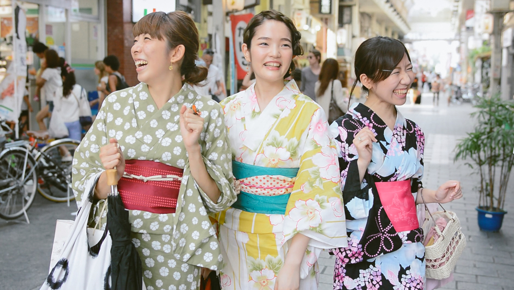 Girls in Kimono, Asakusa neighborhood.