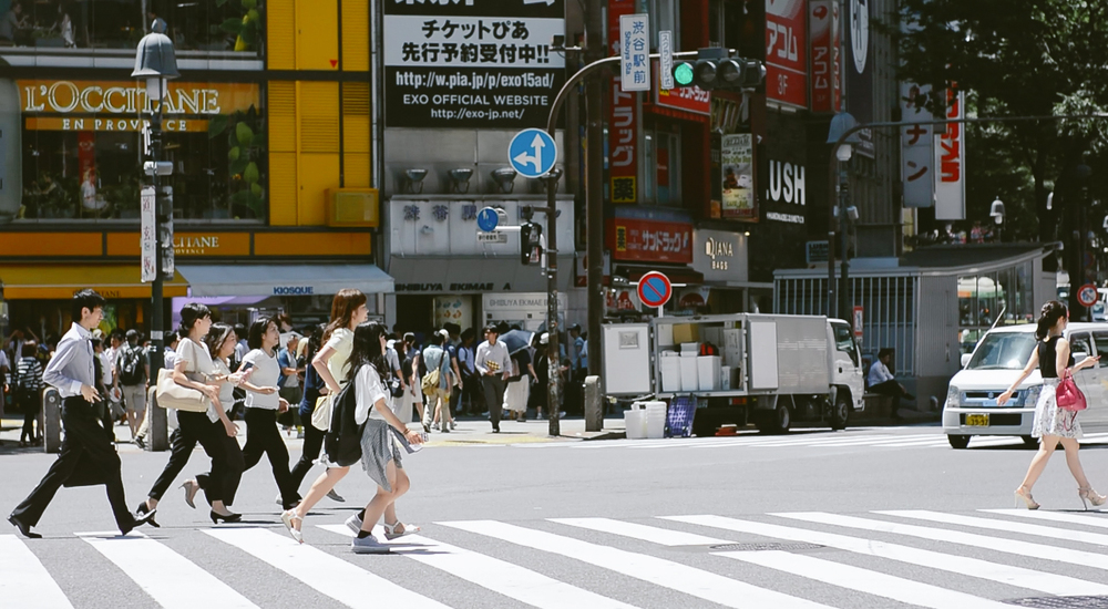 Shibuya crossings.