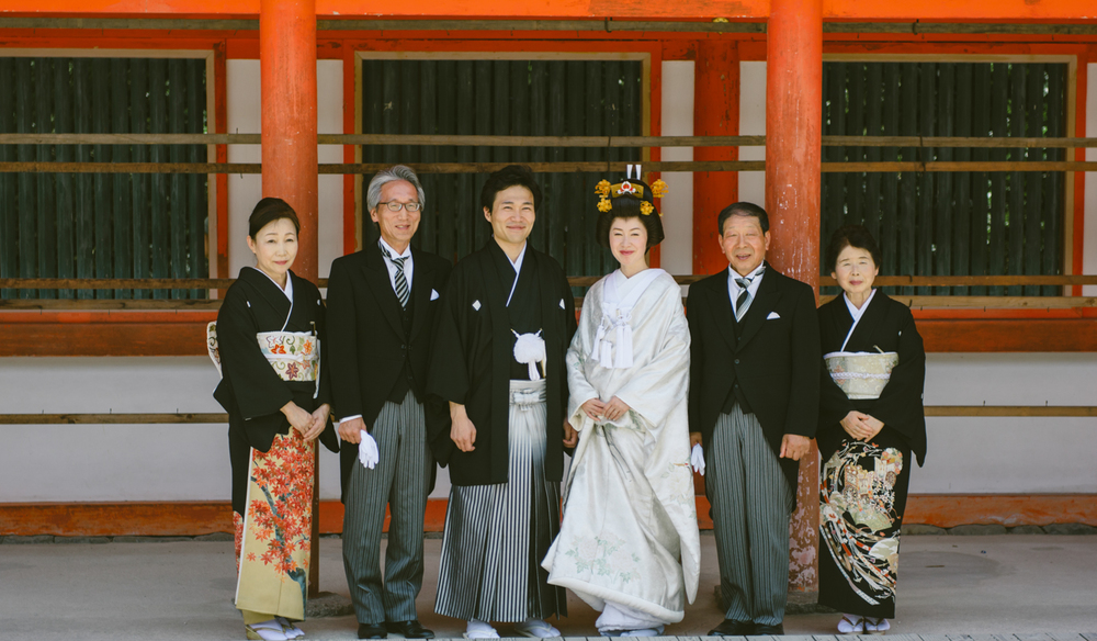Family portrait -Japanese traditional wedding.