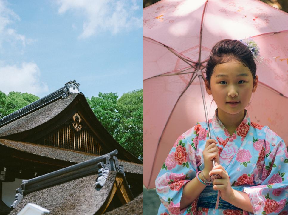 Young girl under a pink umbrella.