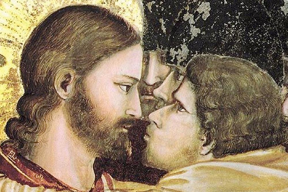 Иллюстрация: Джотто. «Поцелуй Иуды», фрагмент