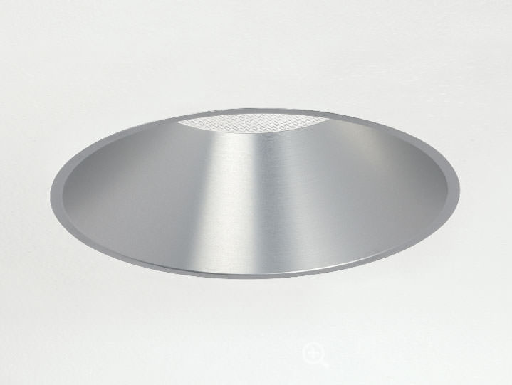 Round Trimless Downlight in Clear Anodized with Miro Prism Solite Lens