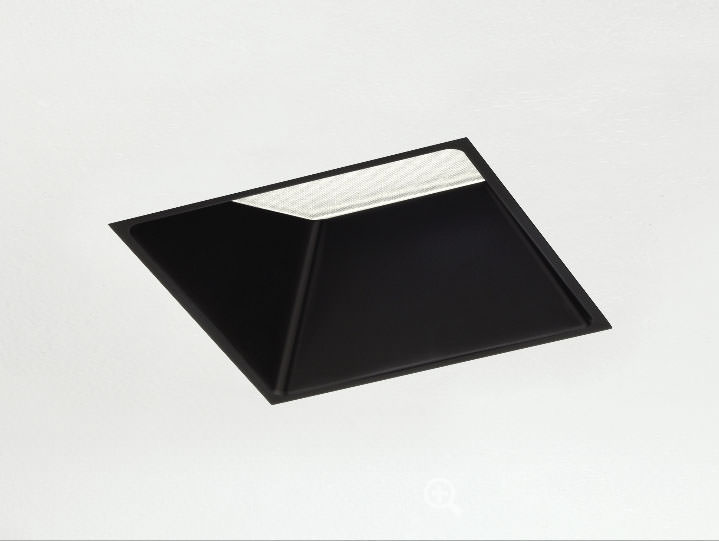 Square Trimmed Adjustable in Matte Black with Frosted Lens