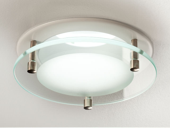 Round Center Frosted Glass Downlight in Matte White with Clear Lens