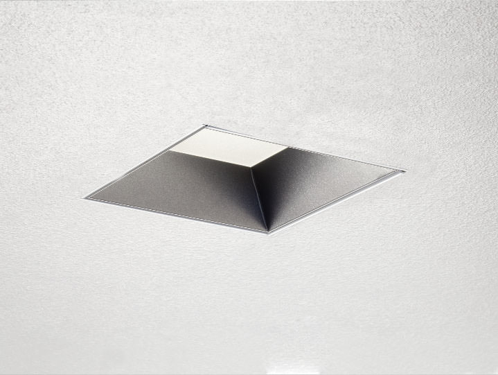 Square Trimless Downlight or Adjustable in Stainless with Frosted Lens
