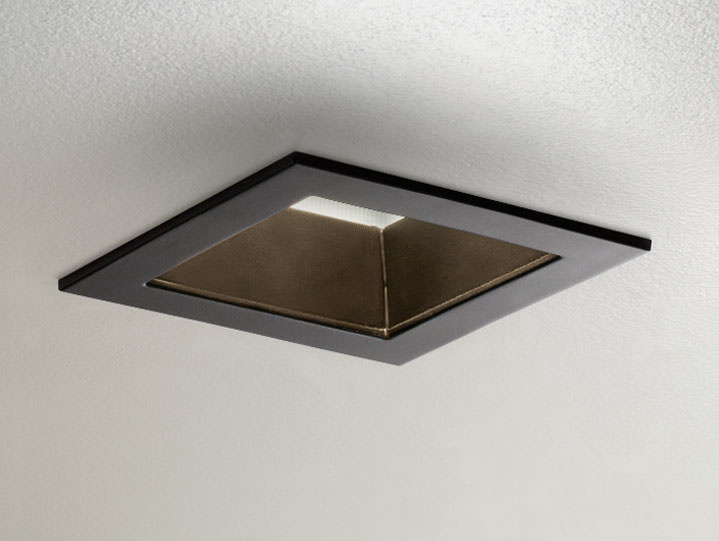 Square Trimmed Downlight or Adjustable in Matte Black with Frosted Lens