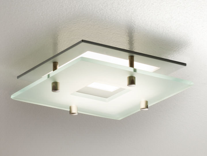 Square Frosted Glass Ring Downlight in Matte White with Clear Glass Lens