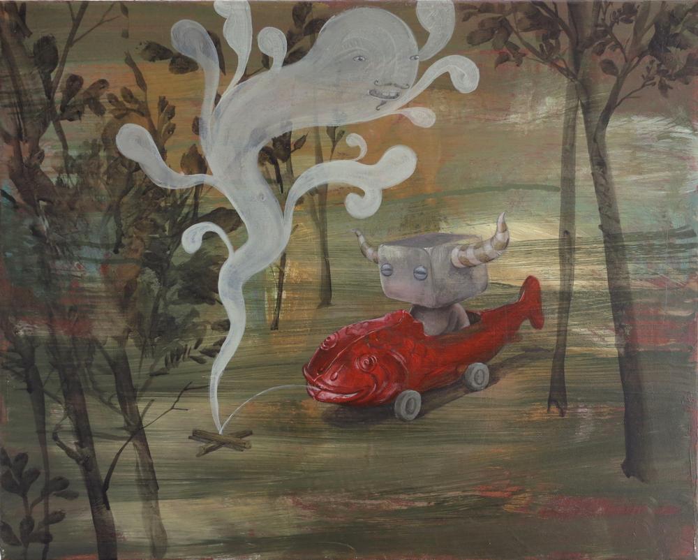 Wim Legrand  'Fish Car'  Oil on canvas  40 x 50 cm