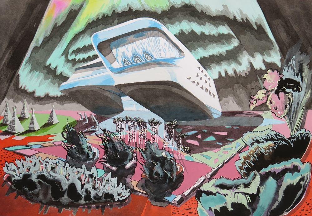 Lizza Littlewort  'Neo-Utopian Mash-Up VII - Enlightenment Comes to the Think Tank'  Mixed media on paper  26,5 x 38 cm