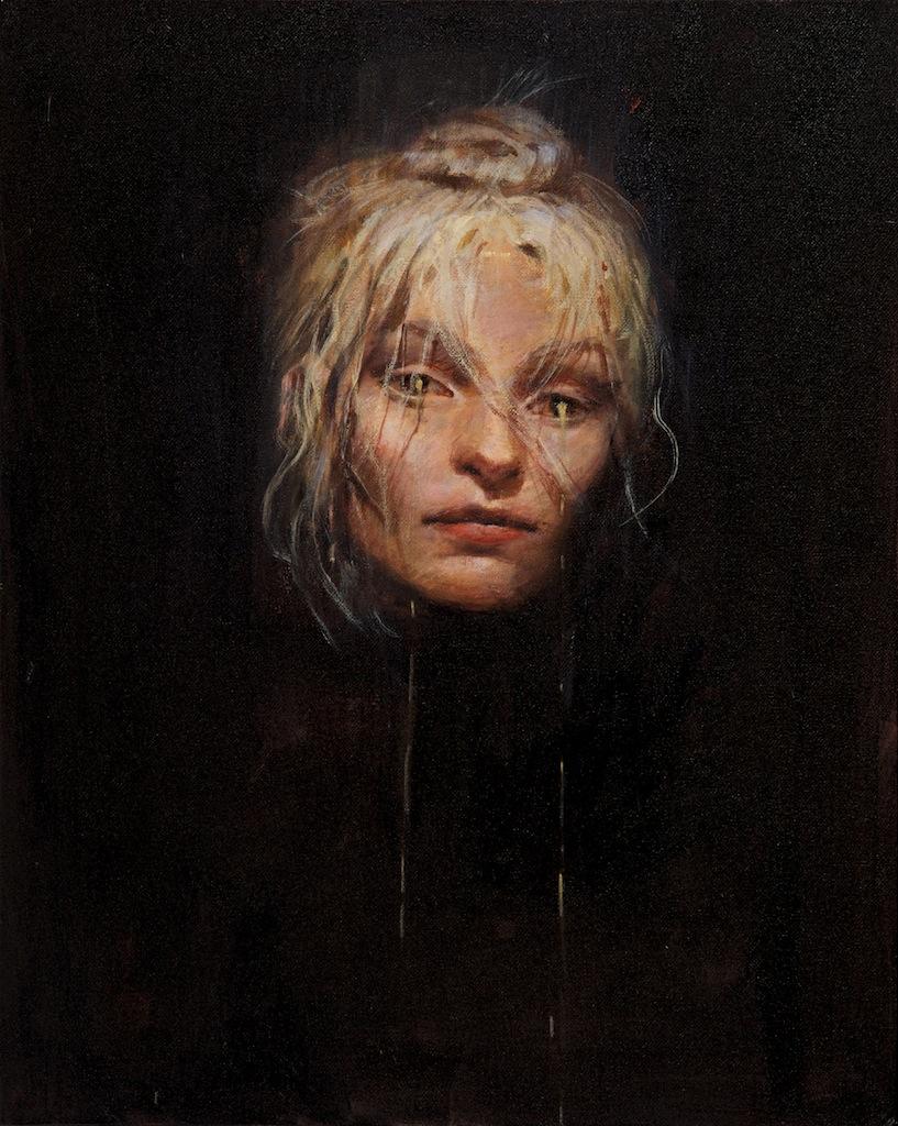 Daniel Clarke  'Gilded Tears'  MIxed media on canvas-board  51 x 41 cm