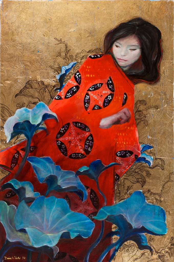 Daniel Clarke  'Red Kimono'  Mixed media on canvas  91 x 61 cm