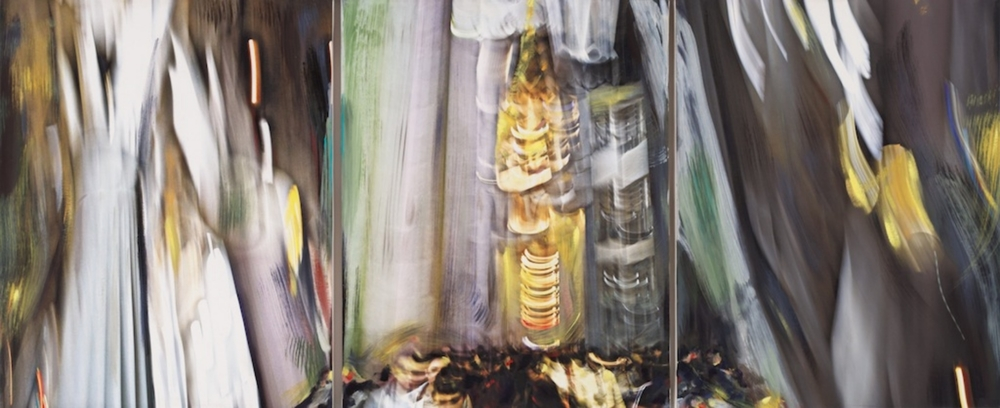 Andrew Hart Adler  'Cathedrals of Forgotten Dreams VI' (triptych)  Mixed media on canvas  97 x 231 cm