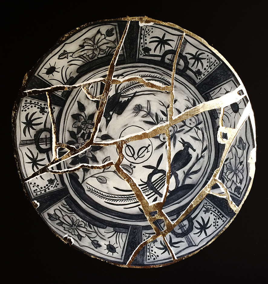 Michael Chandler  'Kintsugi'  Charcoal & gold leaf on Fabriano  100 x 95 cm