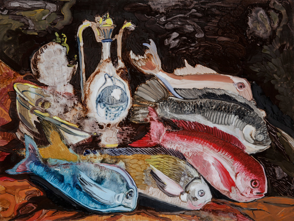 Lizza Littlewort  'Still Life with Javanese Fish'  Oil on board  60 x 80 cm
