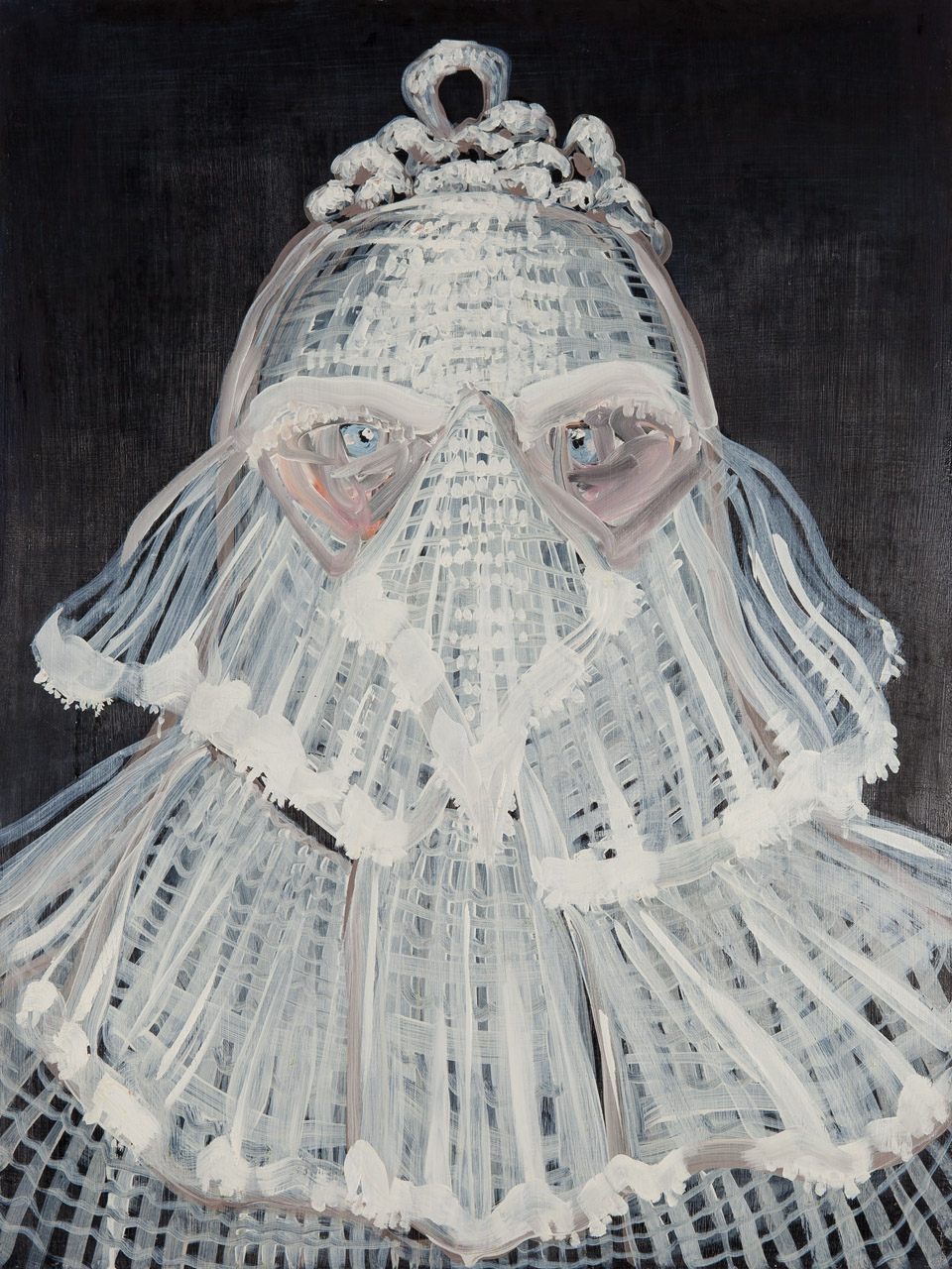 Lizza Littlewort  'The Concealing Veil of White Entitlement'  Oil on board  80 x 60 cm