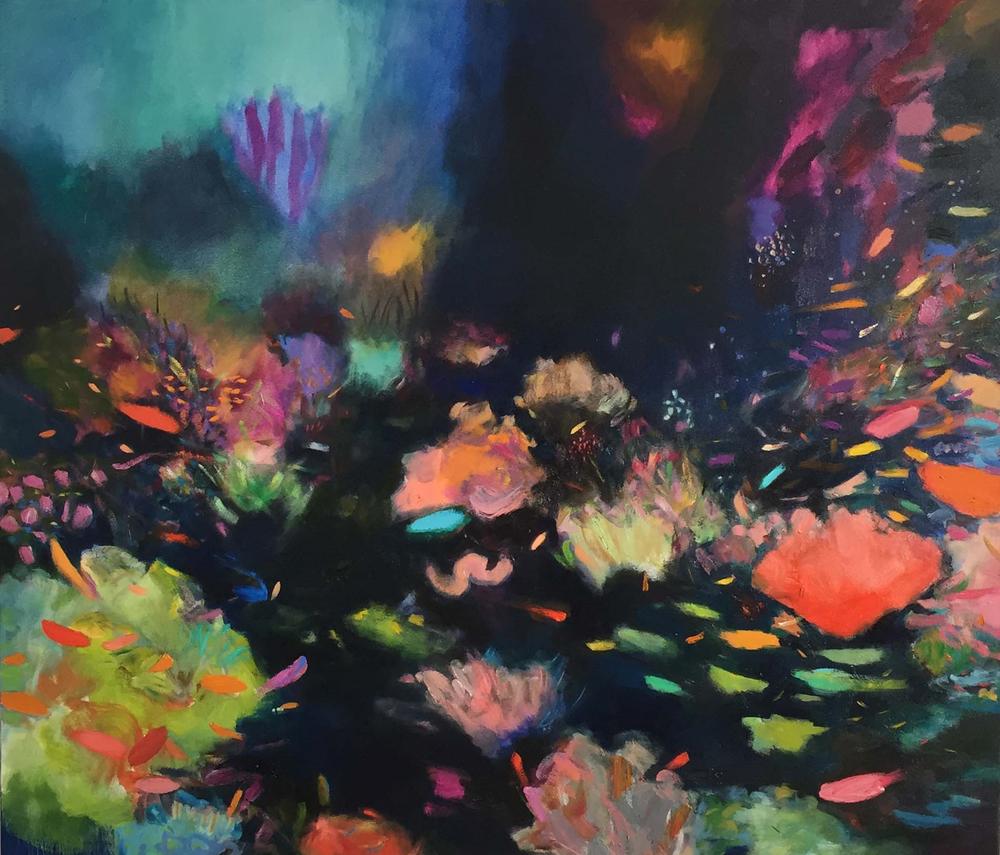 Cathy Layzell  'Polynesia - Deep Blue Reef'  Oil on canvas  130 x 150 cm
