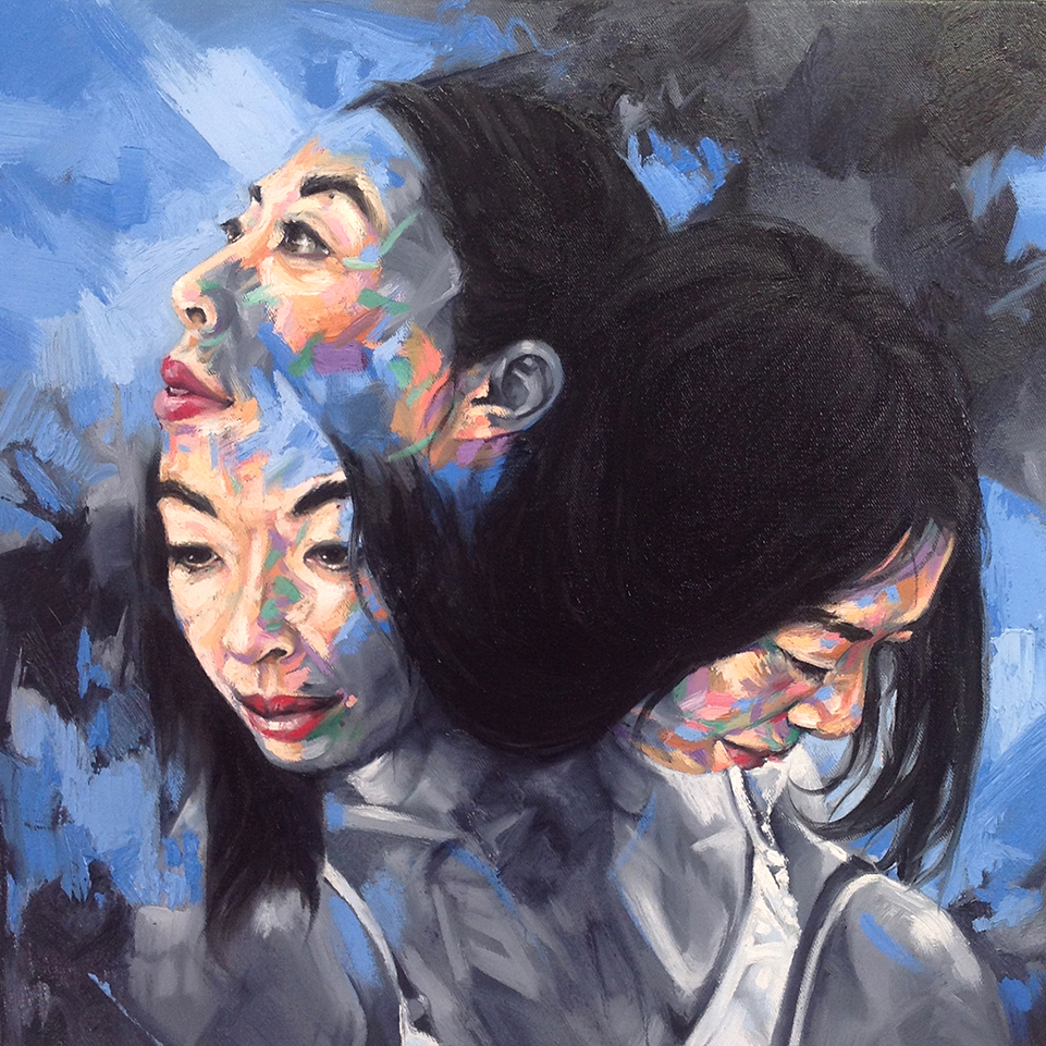 David Theron  'Merge 2'  Oil on canvas  50 x 50 cm