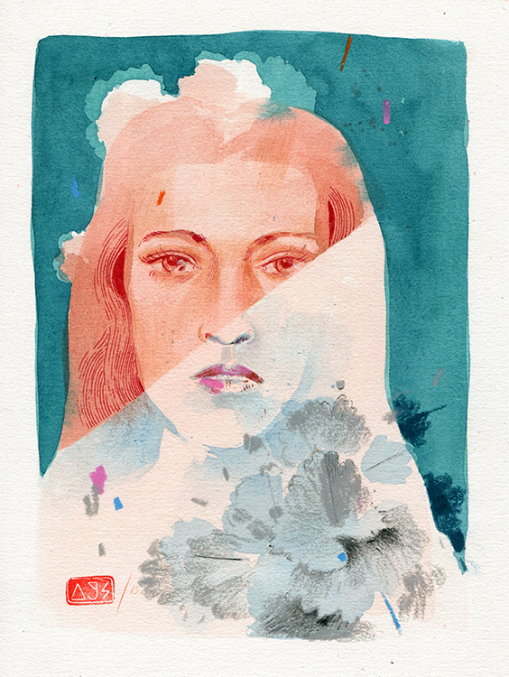 Andrew Sutherland  'Split 7'  Mixed media on paper  29 x 21 cm